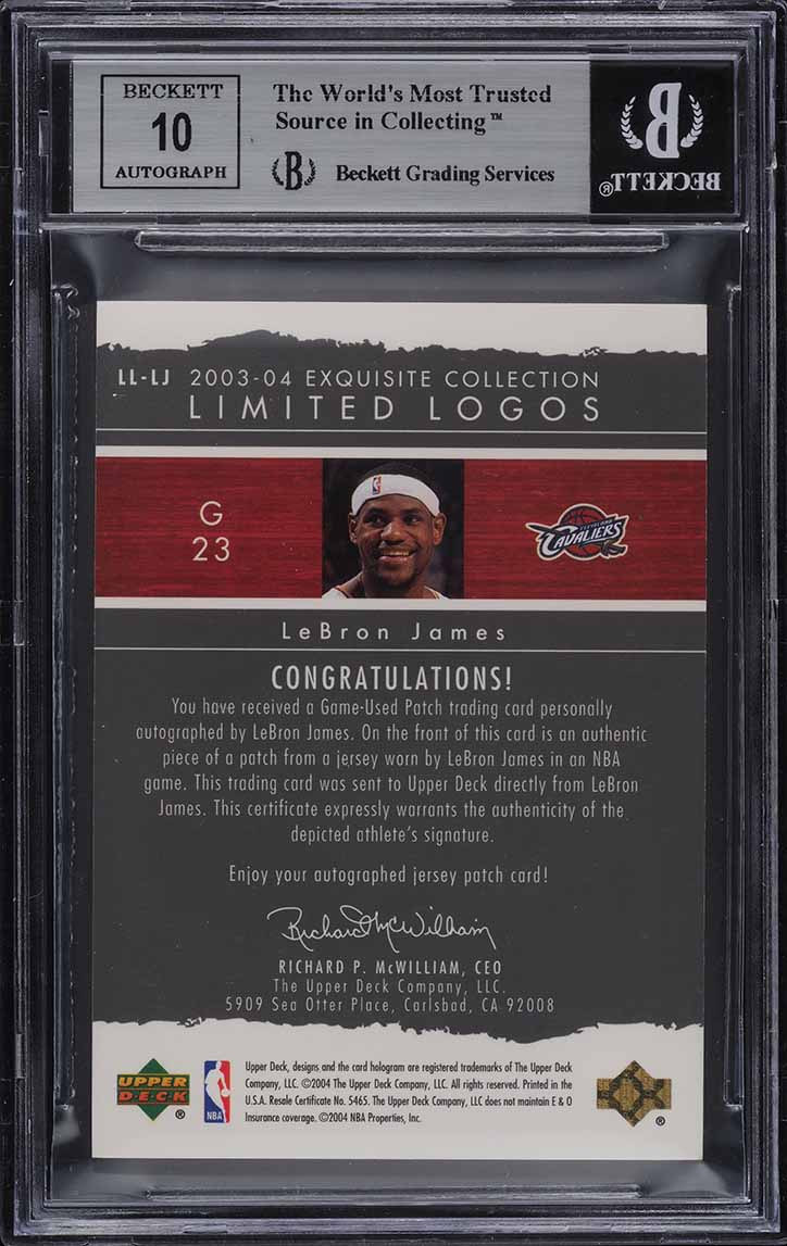 2003 Exquisite Limited Logos LeBron James RC PATCH AUTO /75 BGS 8.5 - Image 2