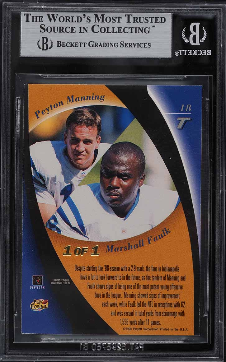 1998 Playoff Contenders Tandems Proof Set Peyton Manning Faulk ROOKIE /1 BGS 8.5 - Image 2