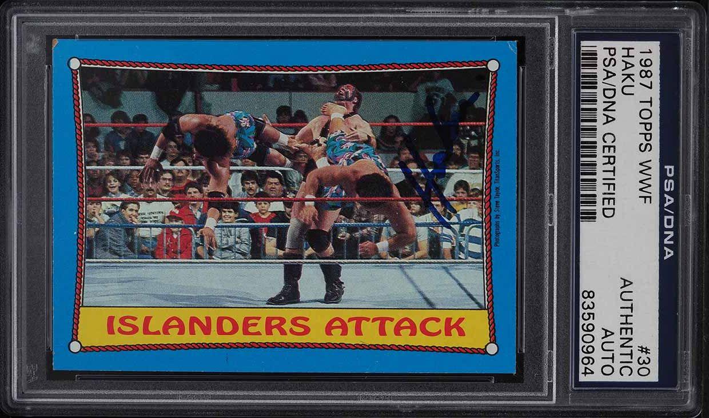 1987 Topps WWF Haku PSA/DNA AUTO #30 PSA Auth - Image 1