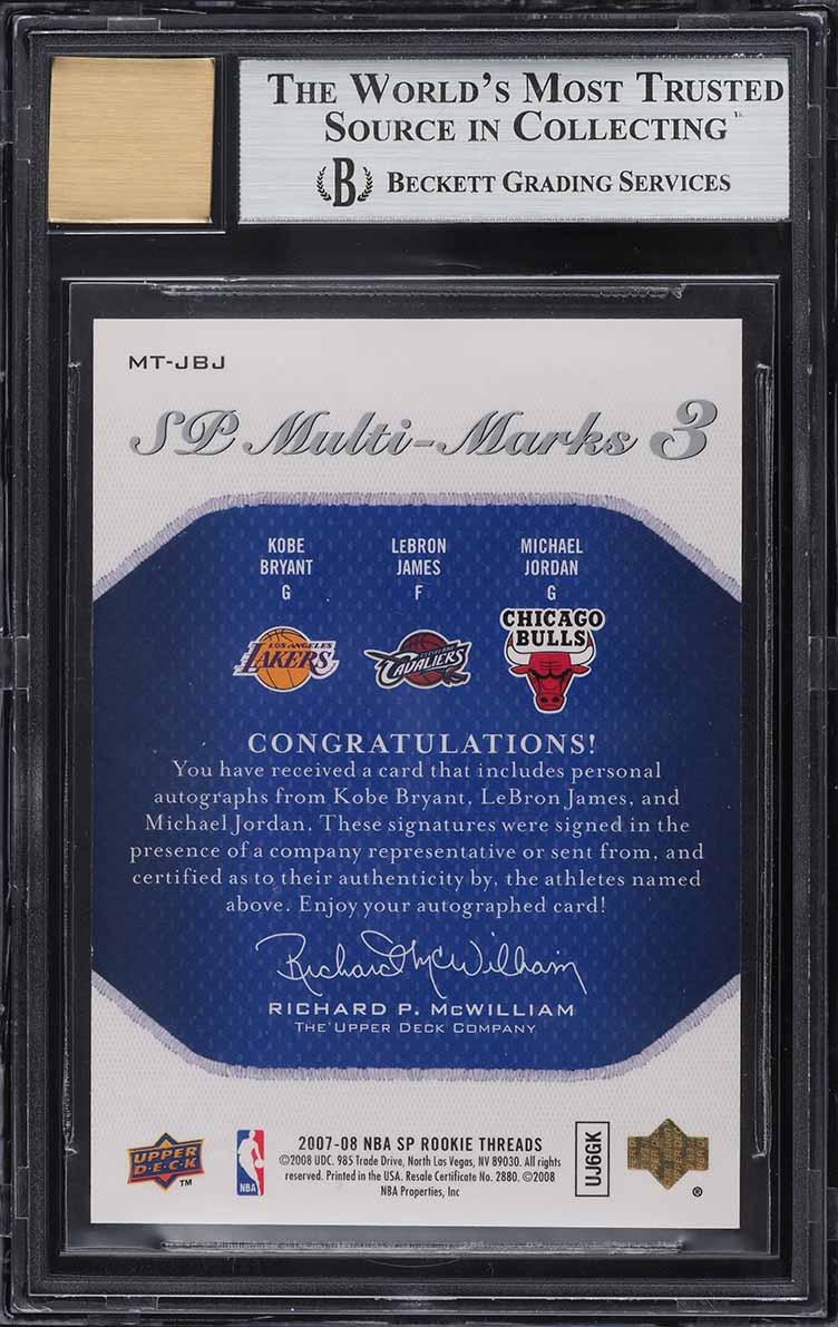 2007 SP Rookie Threads Kobe Bryant LeBron James Michael Jordan AUTO 23/25 BGS 9 - Image 2