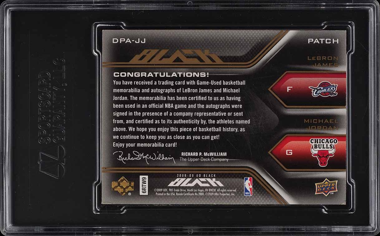 2008 UD Black Dual LeBron James Michael Jordan PATCH AUTO /5 SGC 7.5 - Image 2