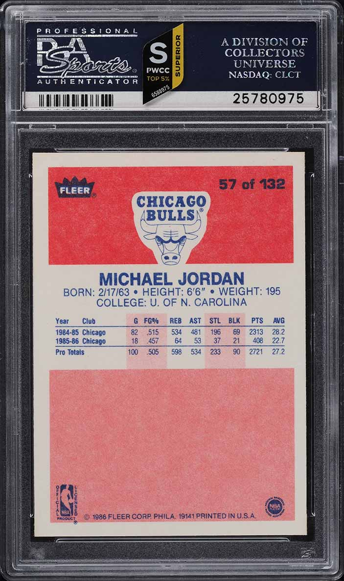 1986 Fleer Basketball Michael Jordan ROOKIE RC #57 PSA 10 GEM MINT - Image 2
