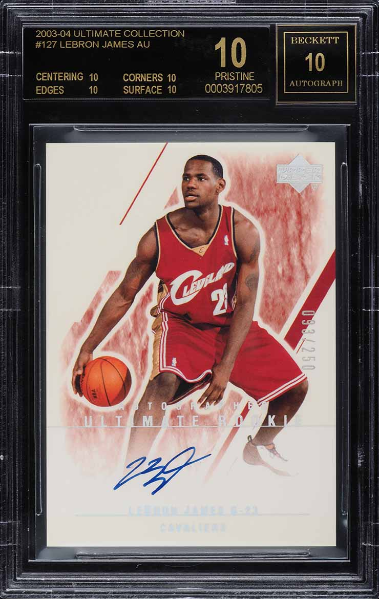 2003 Ultimate Collection LeBron James ROOKIE AUTO /250 #127 BGS 10 BLACK LABEL - Image 1