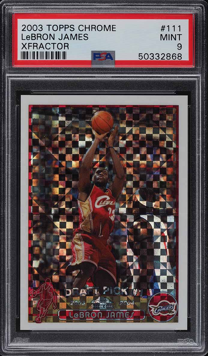 2003 Topps Chrome Xfractor LeBron James ROOKIE RC /220 #111 PSA 9 MINT - Image 1