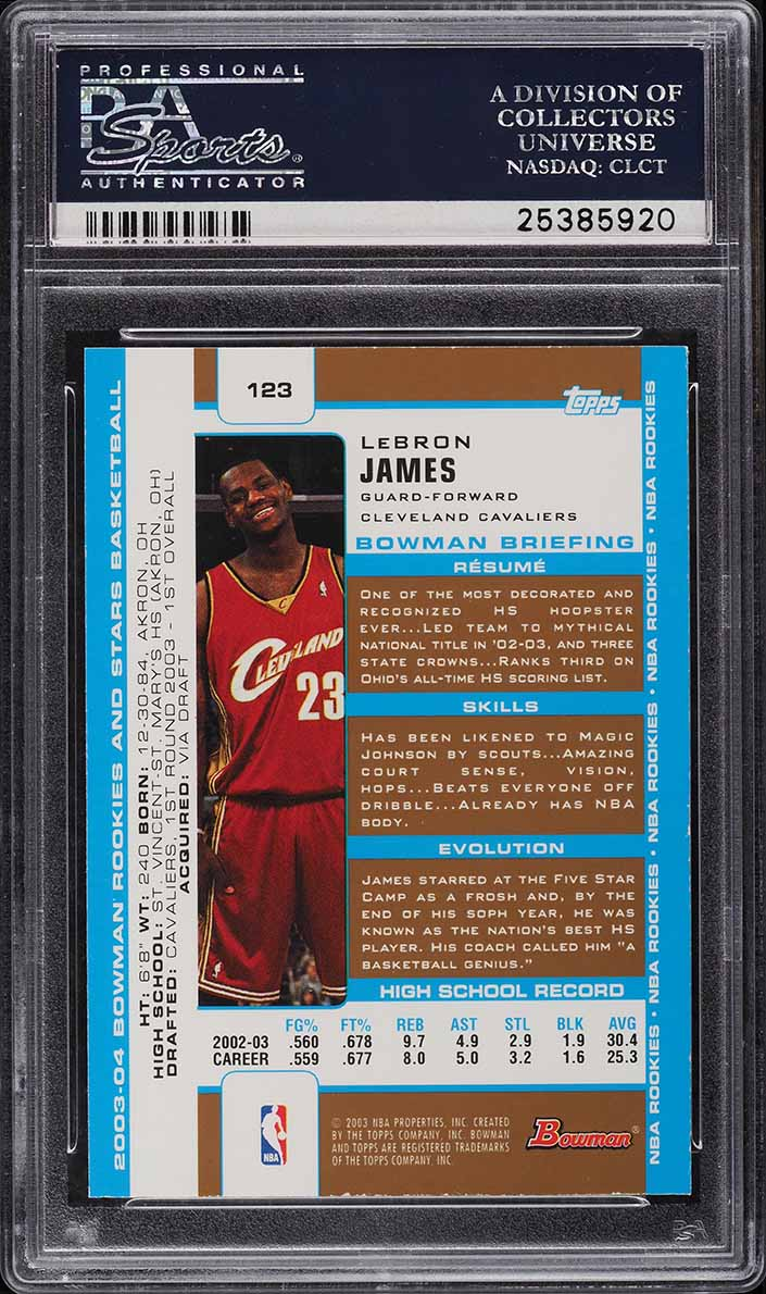 2003 Bowman Gold LeBron James ROOKIE RC #123 PSA 10 GEM MINT - Image 2