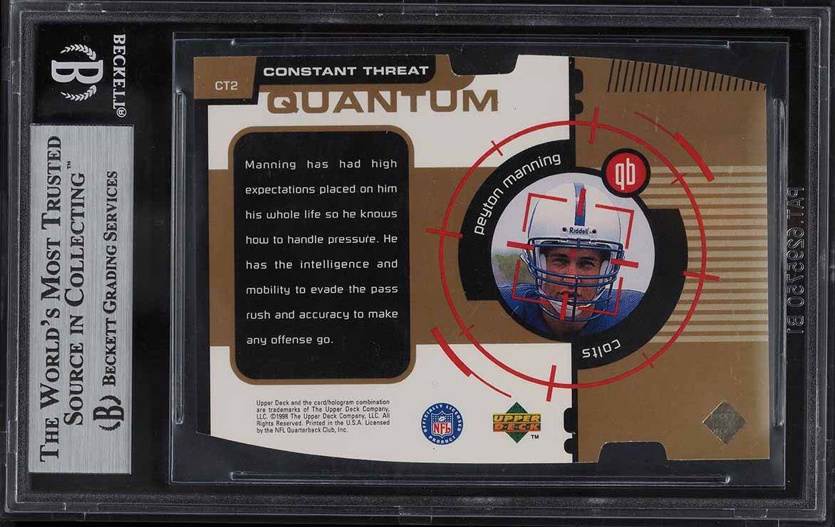 1998 Upper Deck Constant Threat Gold Die-Cut Peyton Manning ROOKIE RC 1/1 BGS 9 - Image 2