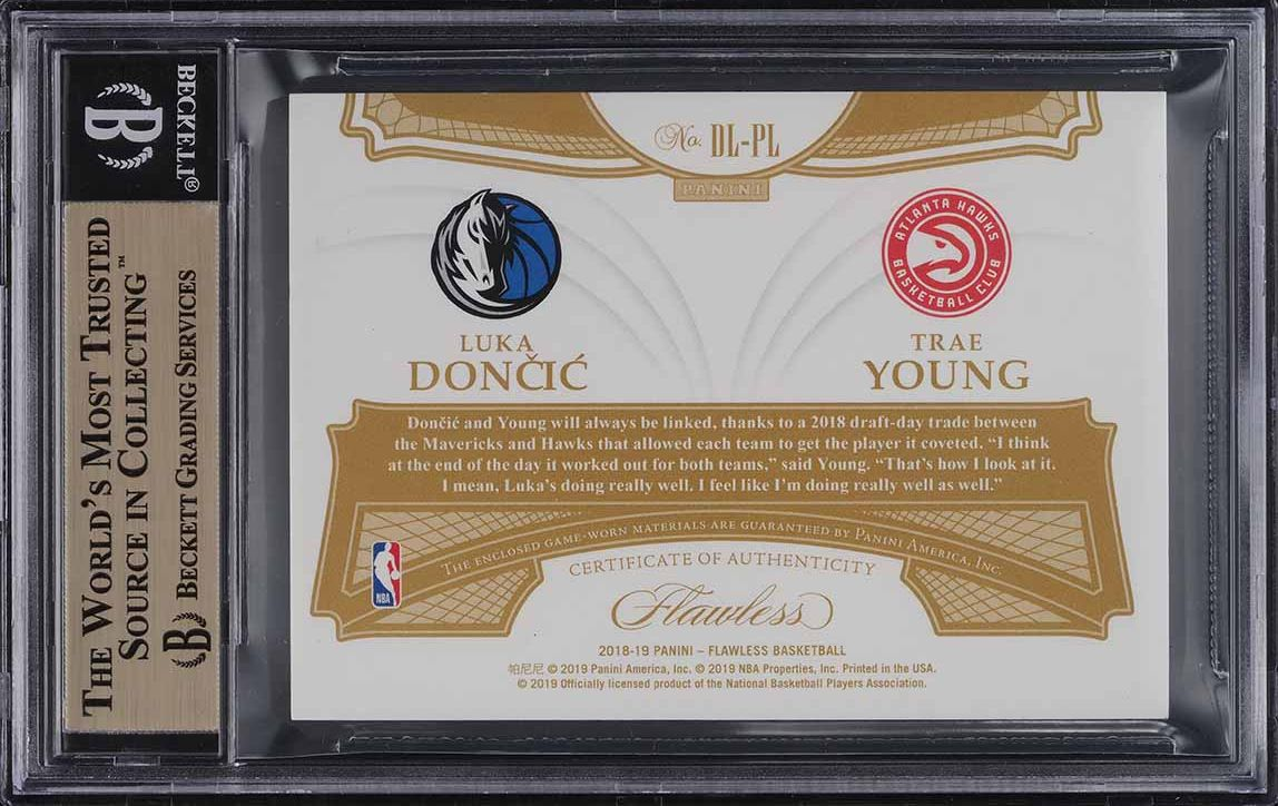 2019 Panini Flawless Dual Luka Doncic Trae Young RC LOGOMAN PATCH 1/1 BGS 9.5 - Image 2