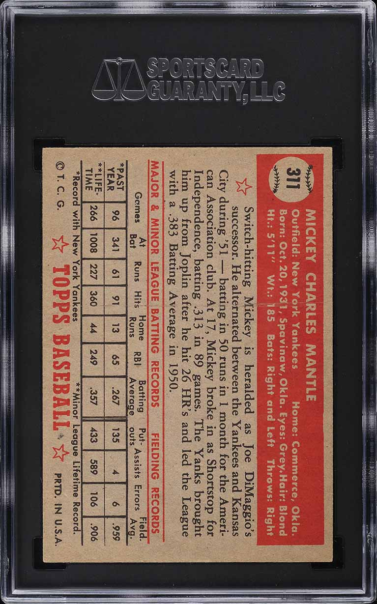 1952 Topps Mickey Mantle #311 SGC 7 NM - Image 2