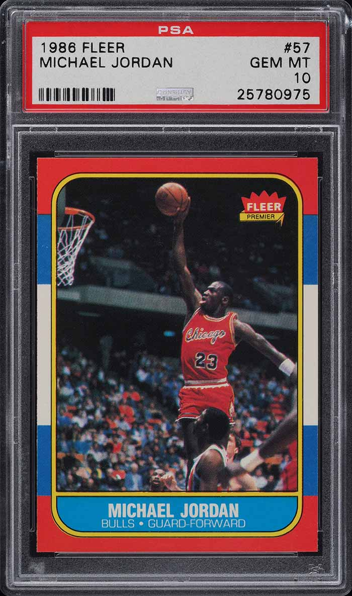 1986 Fleer Basketball Michael Jordan ROOKIE RC #57 PSA 10 GEM MINT - Image 1