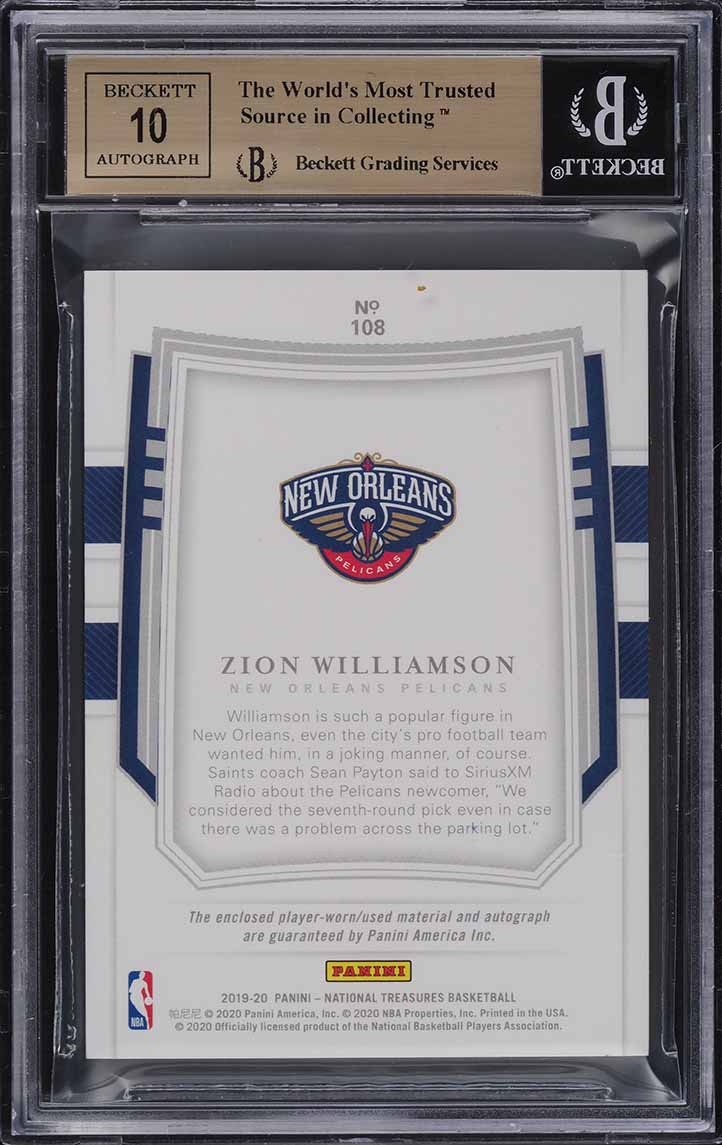 2019 National Treasures Zion Williamson FOTL ROOKIE PATCH AUTO /30 BGS 9.5 - Image 2