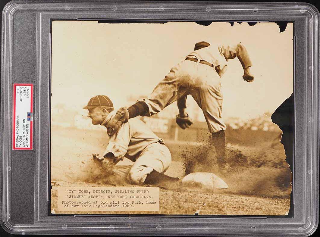 1910 Charles Conlon Ty Cobb Sliding Original Photo, TYPE 1 PSA/DNA - Image 1