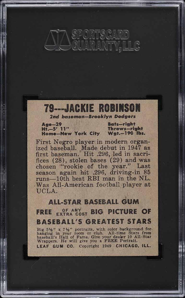 1948 Leaf Jackie Robinson ROOKIE RC #79 SGC 8 NM-MT - Image 2