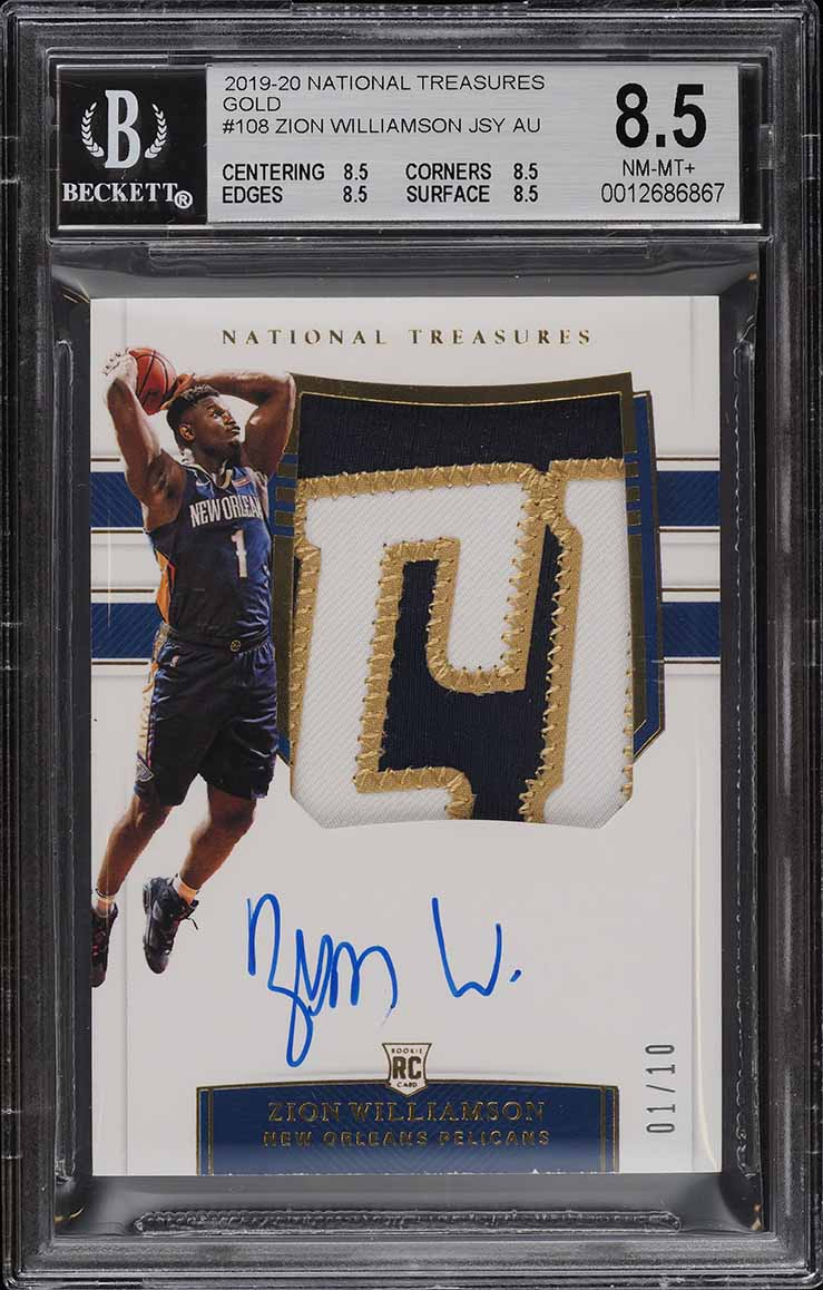 2019 National Treasures Gold Zion Williamson ROOKIE PATCH AUTO JSY #1/10 BGS 8.5 - Image 1