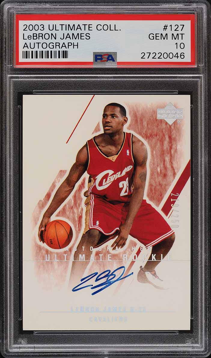2003 Ultimate Collection Auto Lebron James ROOKIE RC /250 #127 PSA 10 GEM - Image 1