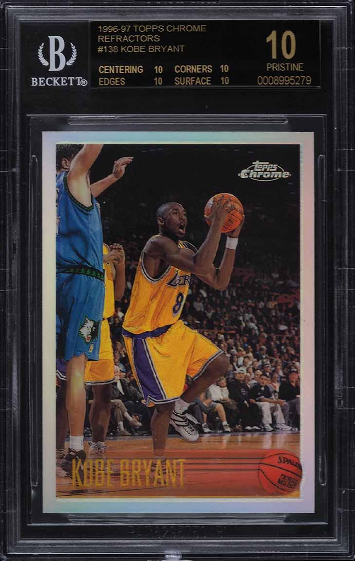 1996 Topps Chrome Refractor Kobe Bryant ROOKIE RC #138 BGS 10 BLACK LABEL - Image 1