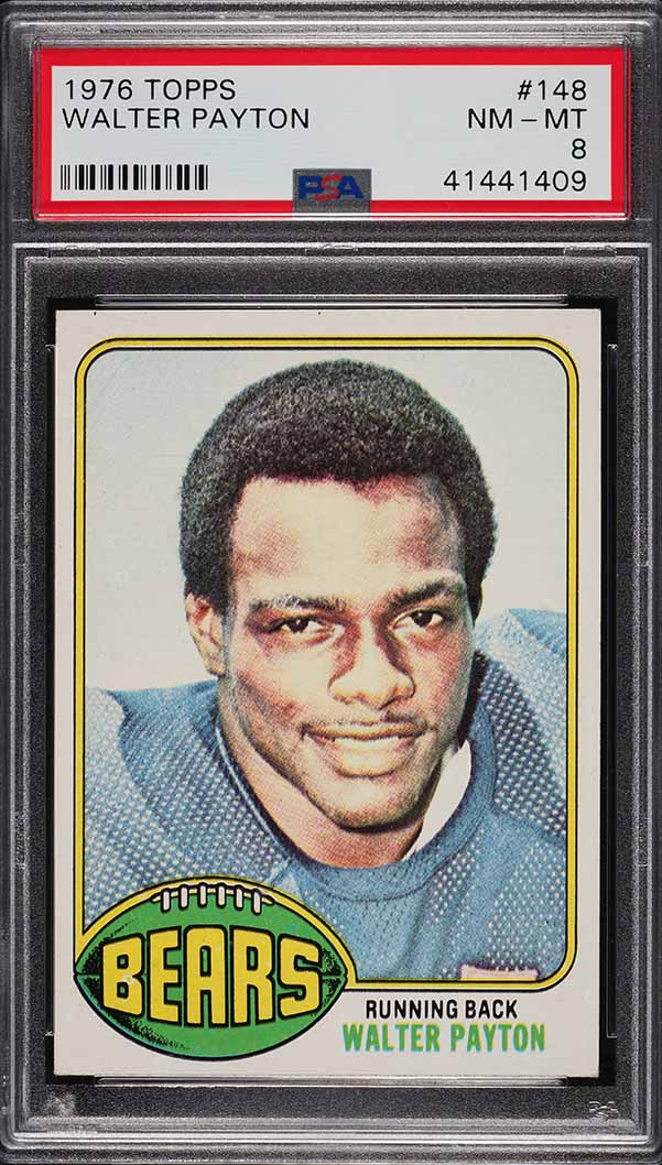 1976 Topps Football Walter Payton ROOKIE RC #148 PSA 8 NM-MT - Image 1