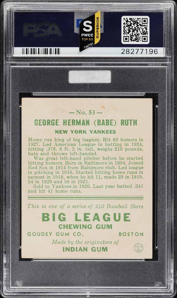 1933 Goudey Babe Ruth #53 PSA 5 EX (PWCC-S) - Image 2