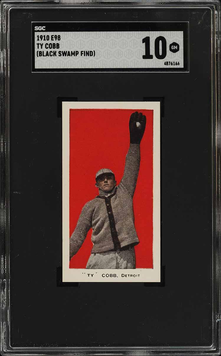 1910 E98 Set of 30 Ty Cobb RED BACKGROUND, BLACK SWAMP SGC 10 GEM MINT (PWCC-S) - Image 1