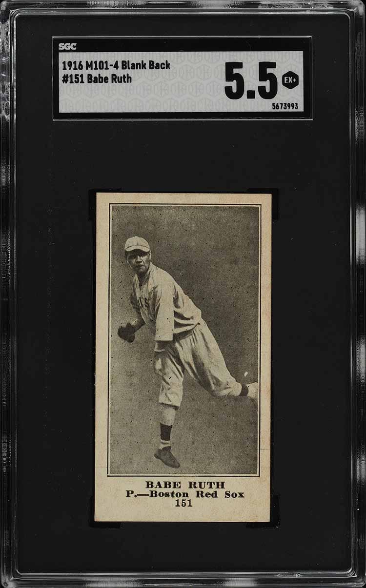 1916 M101-4 Blank Back Babe Ruth ROOKIE RC #151 SGC 5.5 EX+ - Image 1