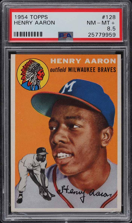 1954 Topps Hank Aaron ROOKIE RC #128 PSA 8.5 NM-MT+ - Image 1