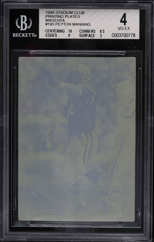 1998 Stadium Club Magenta Printing Plate Peyton Manning ROOKIE RC 1/1 #195 BGS 4 - Image 1