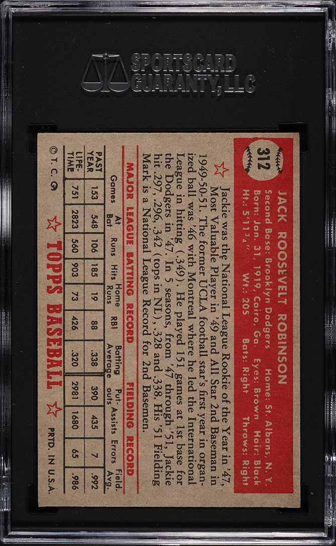 1952 Topps Jackie Robinson #312 SGC 7.5 NM+ - Image 2
