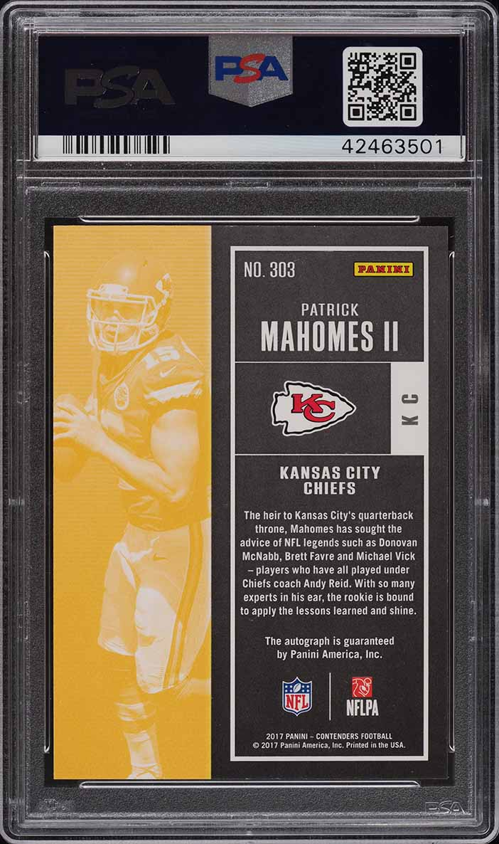 2018 Panini Contenders Red Zone Patrick Mahomes RC AUTO PSA 10 - Image 2