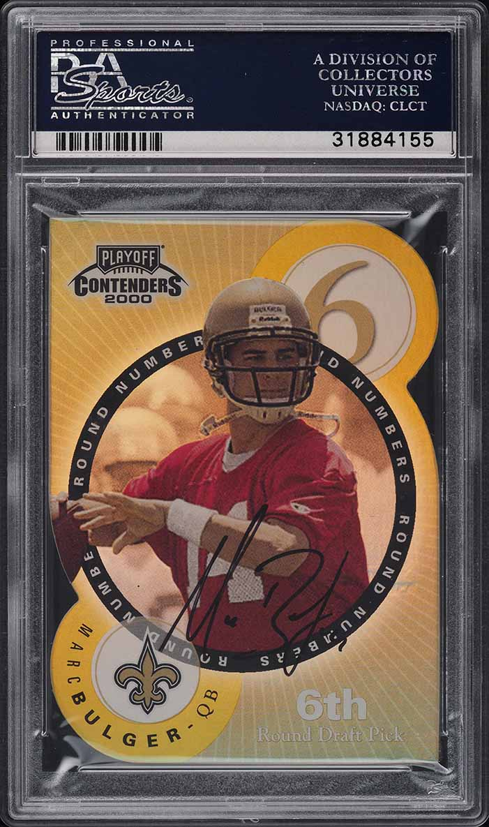 2000 Playoff Contenders Round Numbers Gold Tom Brady ROOKIE AUTO /60 PSA 9 MINT - Image 2
