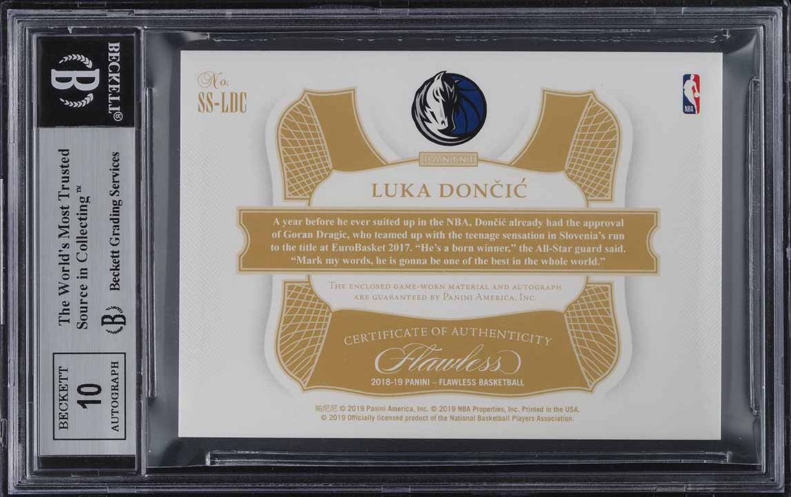 2018 Panini Flawless Star Swatch Platinum Luka Doncic ROOKIE AUTO 1/1 BGS 9 - Image 2