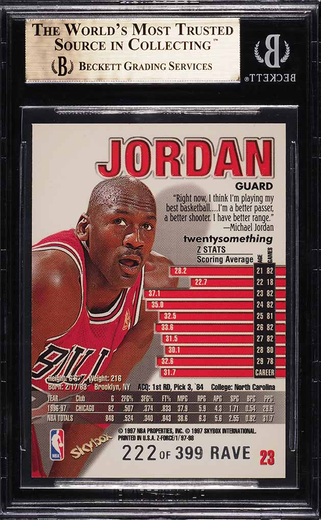 1997 Z-force Rave Michael Jordan /399 #23 BGS 9.5 GEM MINT - Image 2