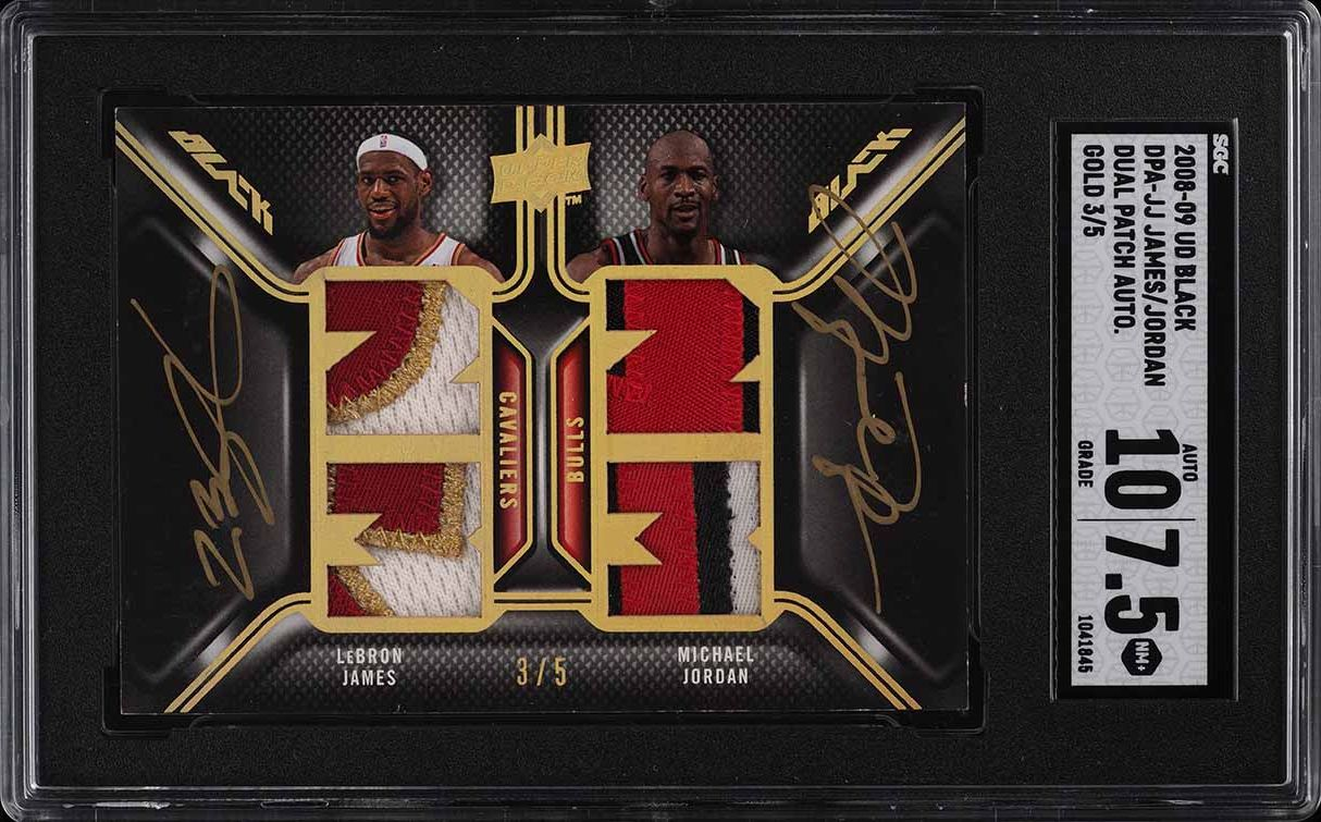 2008 UD Black Dual LeBron James Michael Jordan PATCH AUTO /5 SGC 7.5 - Image 1