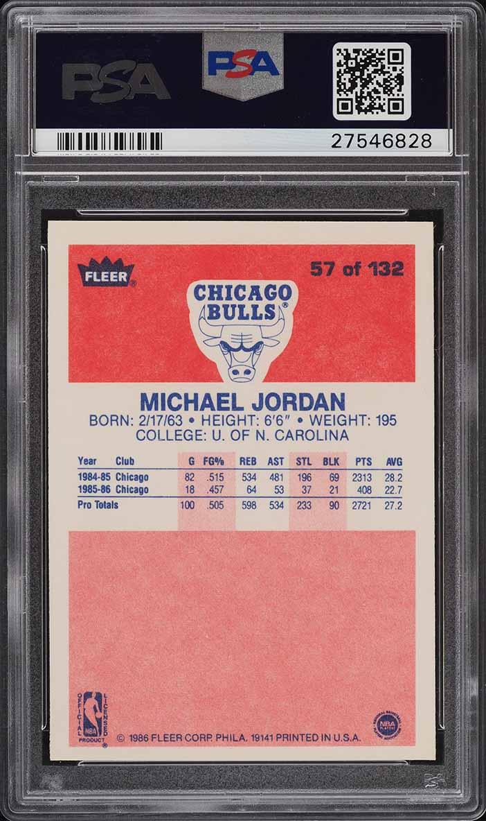 1986 Fleer Basketball Michael Jordan ROOKIE RC #57 PSA 10 GEM MINT - Image 2