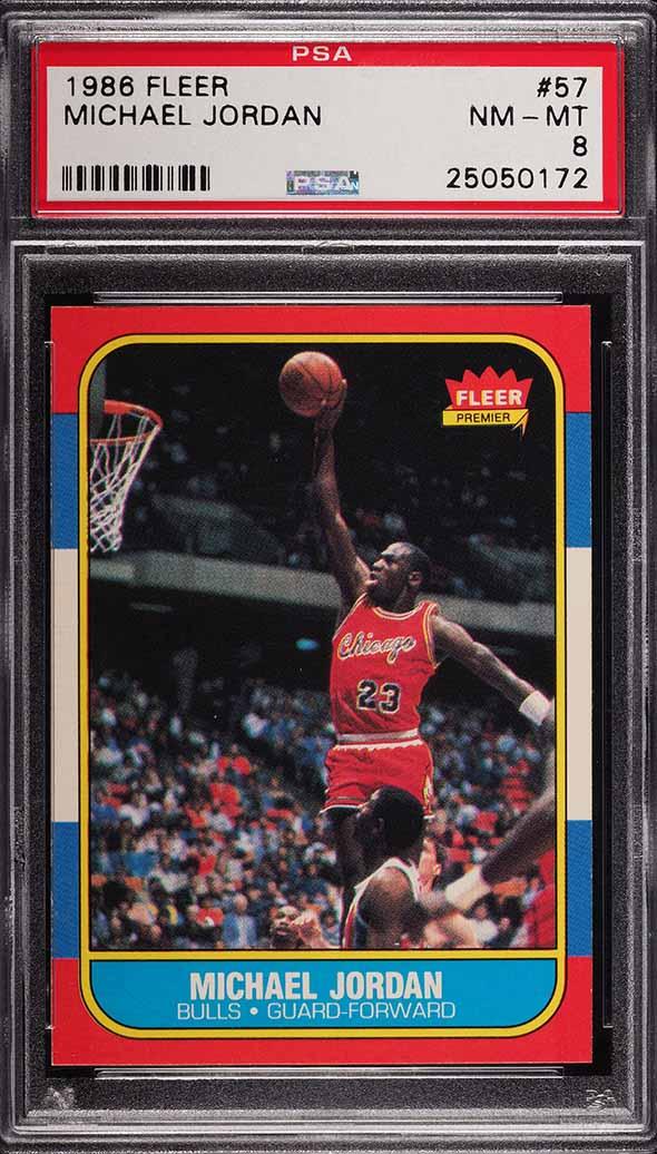 1986 Fleer Basketball Michael Jordan ROOKIE RC #57 PSA 8 NM-MT - Image 1