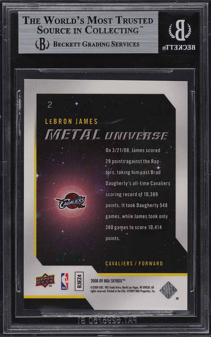 2008 Metal Universe Precious Metal Gems PMG Green LeBron James /50 BGS 9 - Image 2