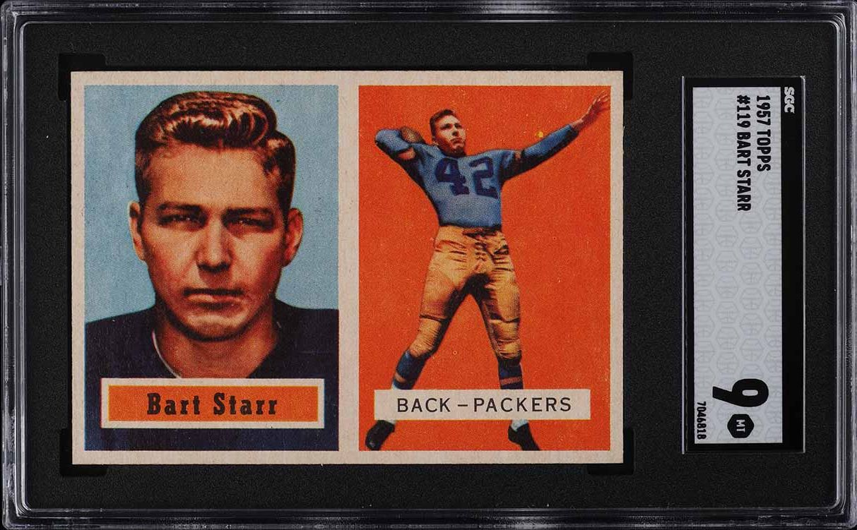 1957 Topps Football Bart Starr ROOKIE RC #119 SGC 9 MINT (PWCC-A) - Image 1