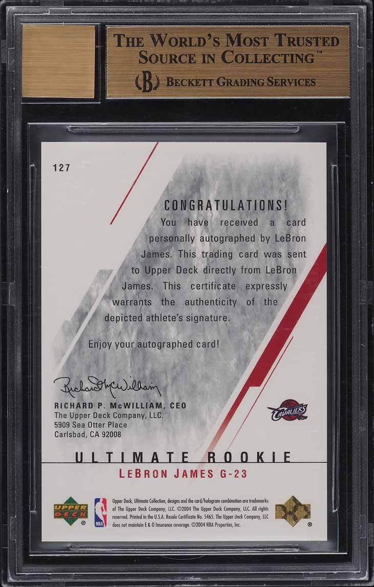 2003 Ultimate Collection LeBron James ROOKIE RC AUTO /250 #127 BGS 9.5 - Image 2