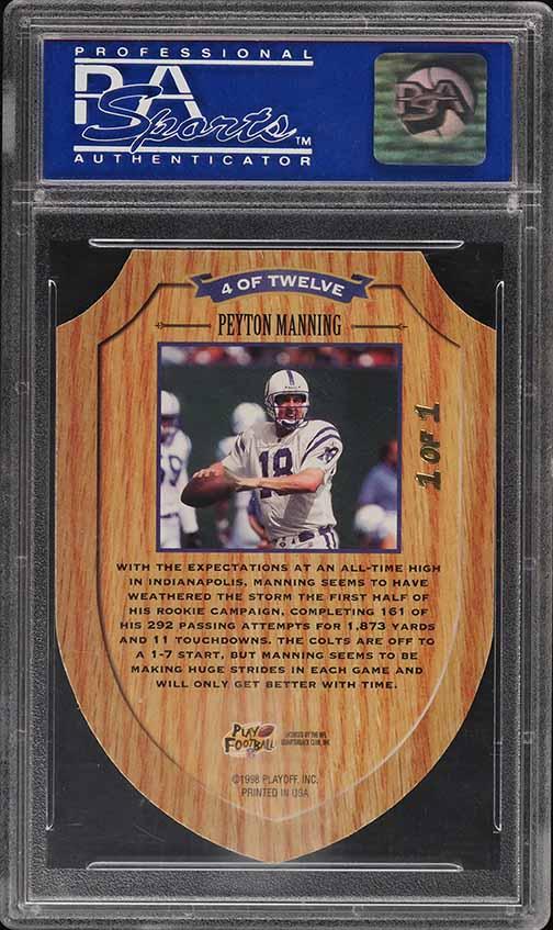 1998 Playoff Contenders ROY Proof Set Die-Cut Peyton Manning ROOKIE 1/1 PSA 10 - Image 2