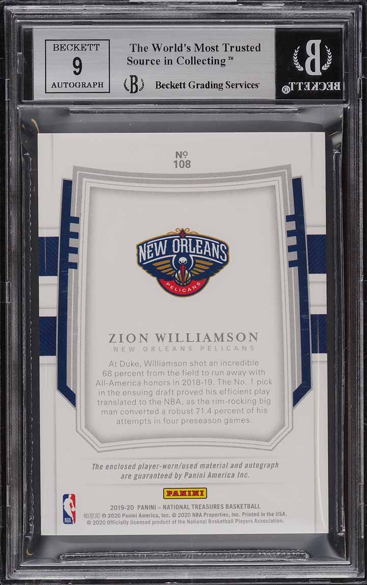 2019 National Treasures Gold Zion Williamson ROOKIE PATCH AUTO JSY #1/10 BGS 8.5 - Image 2