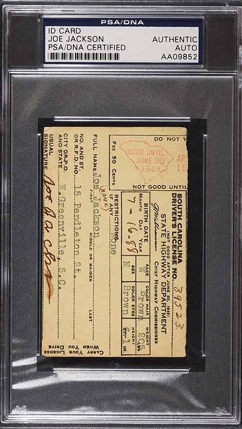 "Signed Autographed ""Shoeless"" Joe Jackson ID Card AUTO, PSA/DNA Auth - Image 1"