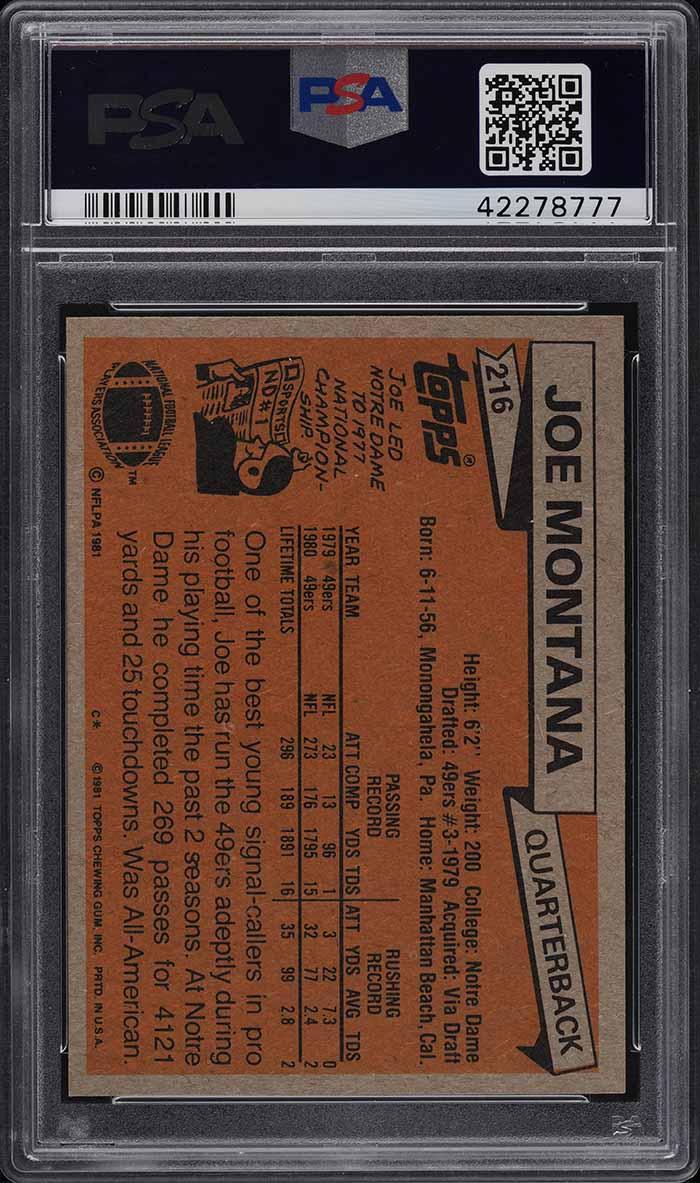 1981 Topps Football Joe Montana ROOKIE RC PSA 10 GEM MINT - Image 2