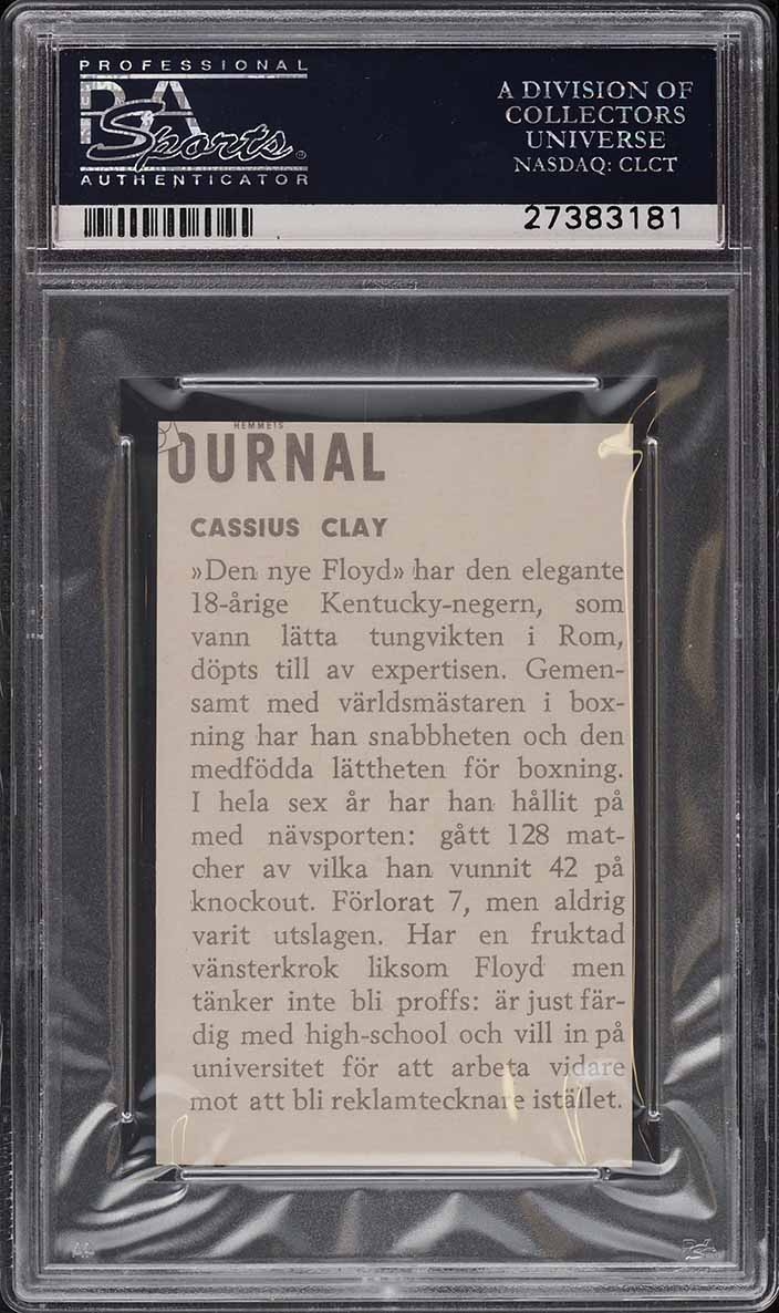 1960 Hemmets Journal Boxing Cassius Clay Muhammad Ali ROOKIE RC PSA 9 MT - Image 2