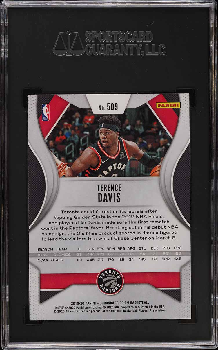 2019 Panini Chronicles Prizm Update Terence Davis ROOKIE RC #509 SGC 9 MINT - Image 2