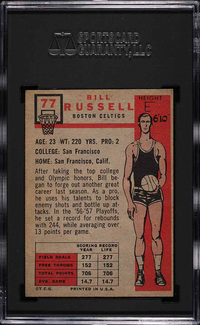 1957 Topps Bill Russell ROOKIE RC #77 SGC 6.5 EX-NM+ - Image 2
