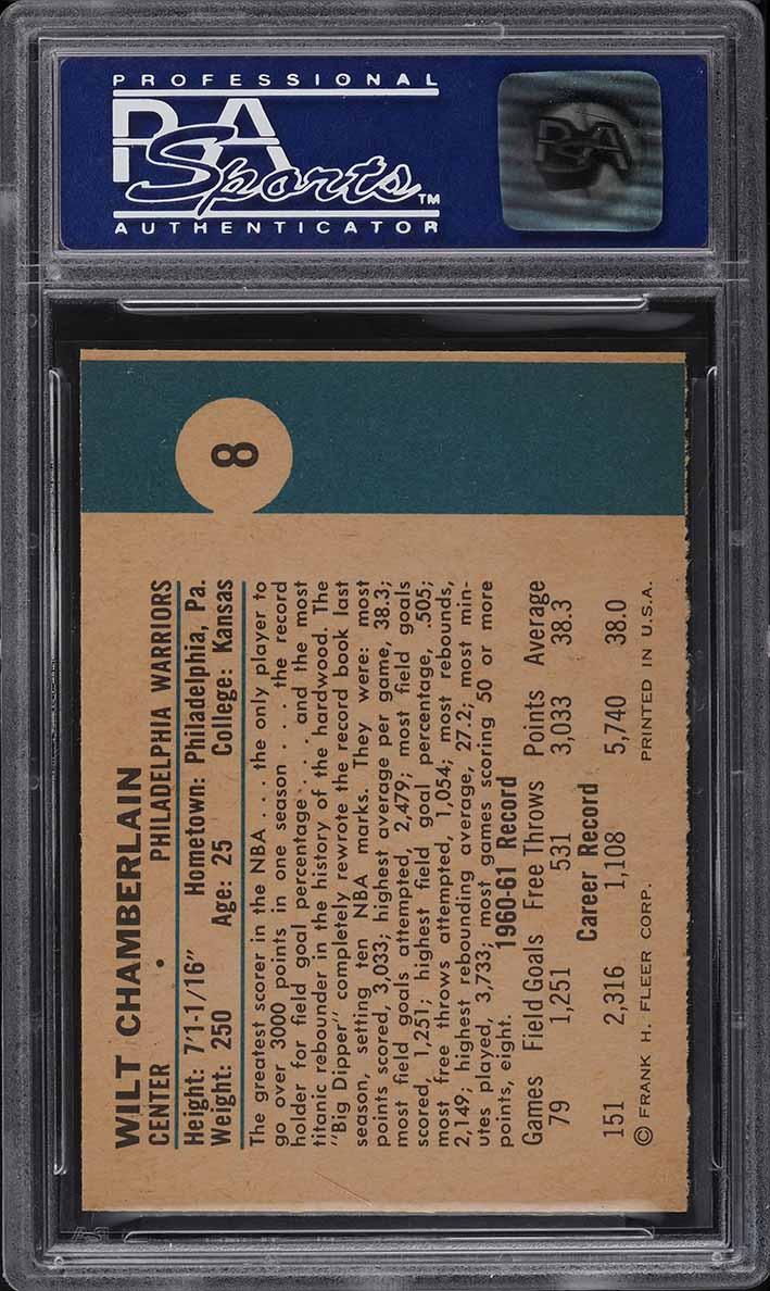 1961 Fleer Basketball Wilt Chamberlain ROOKIE RC #8 PSA 9 MINT - Image 2