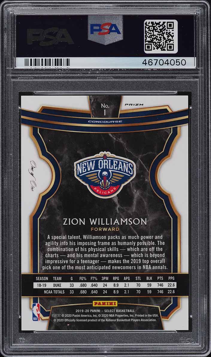 2019 Select Black Disco Prizms Zion Williamson ROOKIE RC 1/1 PSA 10 GEM - Image 2